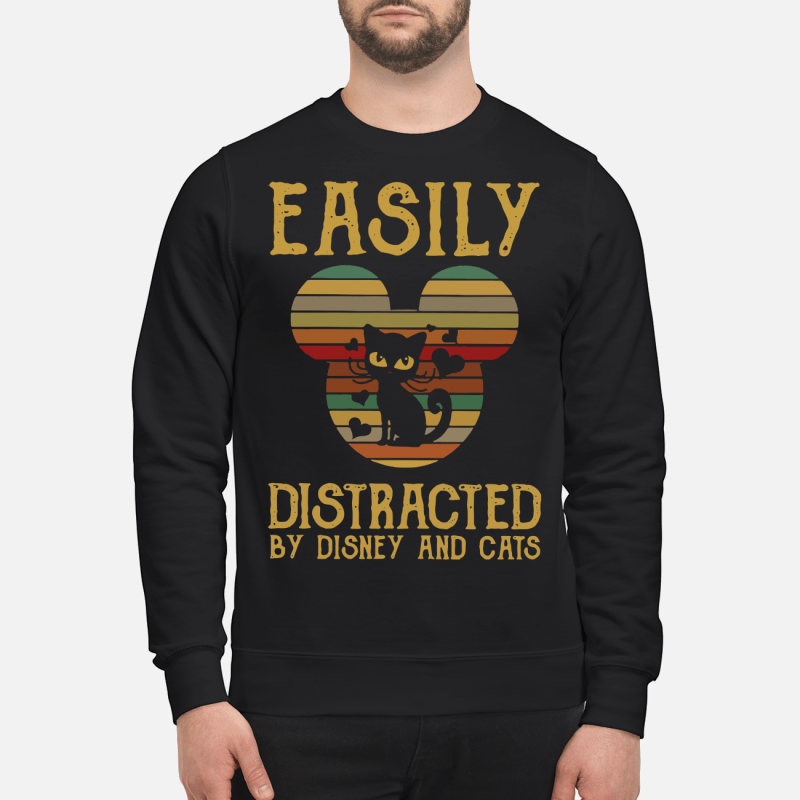 Easily distracted by Disney and cats sunset sweartshirt