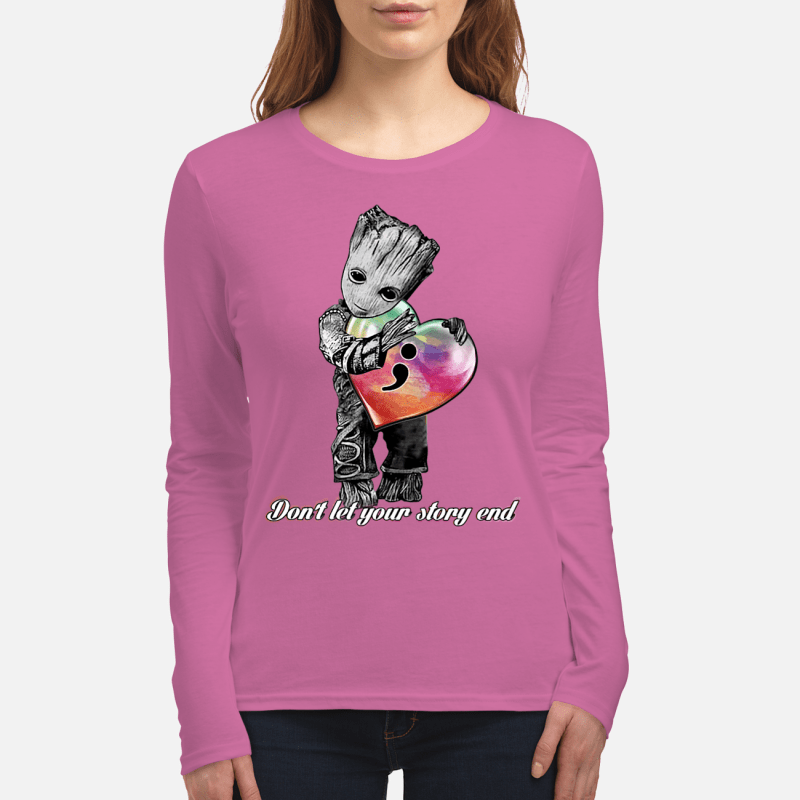 Groot hugs heart don't let your story end long sleeved