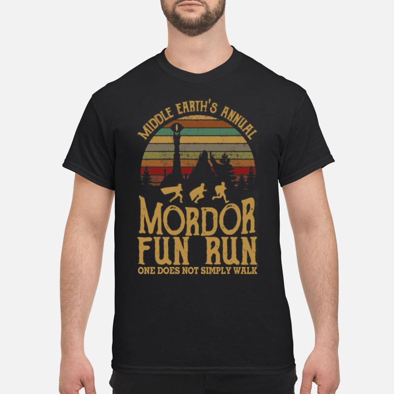 06317aa9 Middle earth's annual mordor fun run one does not simply walk shirt ...