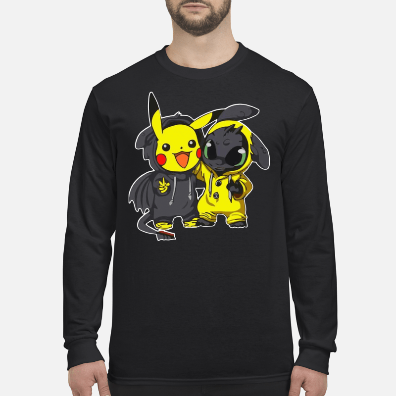 Pikachu And Toothless hoodie long sleeved