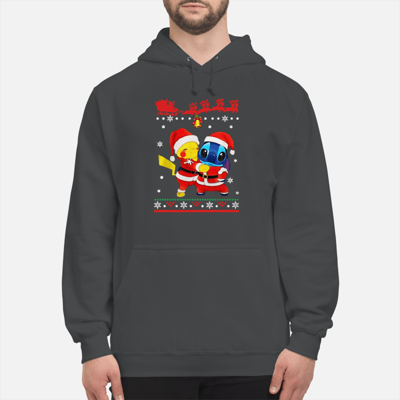 Pikachu Hug Stitch Christmas hoodie sweater