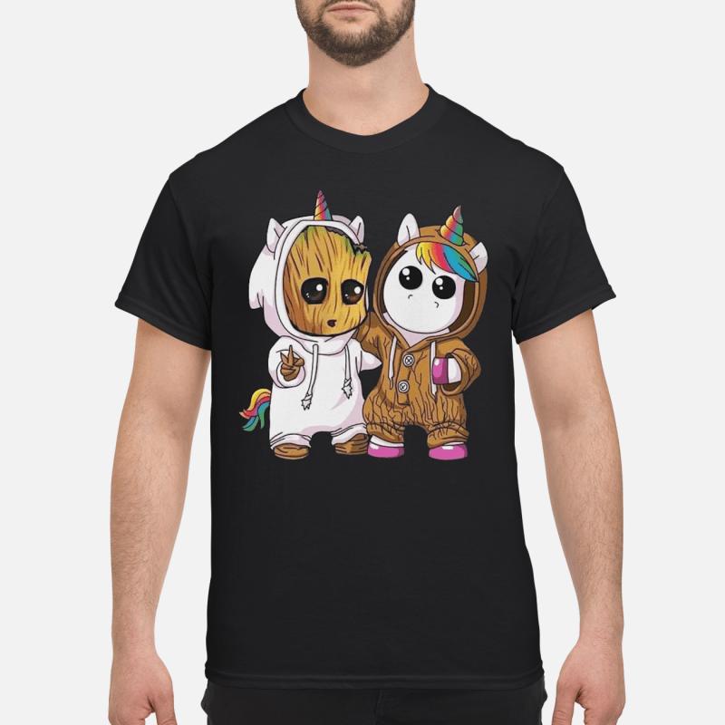 Baby Groot And Unicorn kid shirt