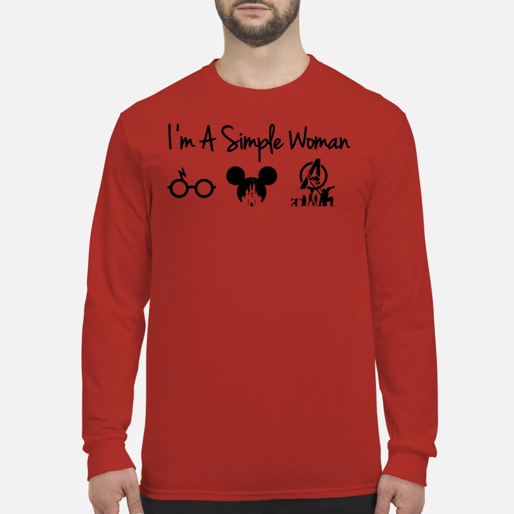 I'm a simple woman who loves Potter Disney and Avenger kid shirt Long sleeved