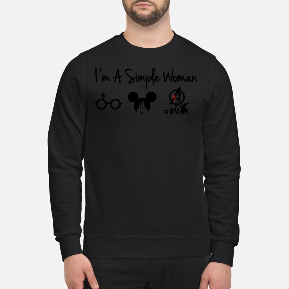 I'm a simple woman who loves Potter Disney and Avenger kid shirt sweater