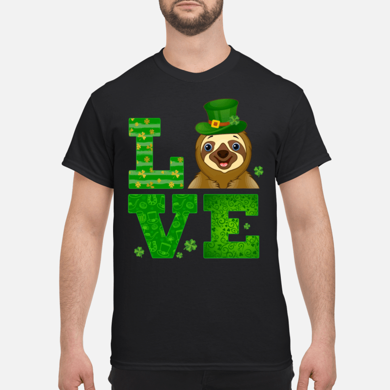Love Sloth St Patricks Day Green Shamrock kid shirt