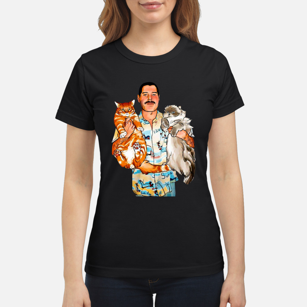 Freddie Mercury With His Cats Shirt ladies tee