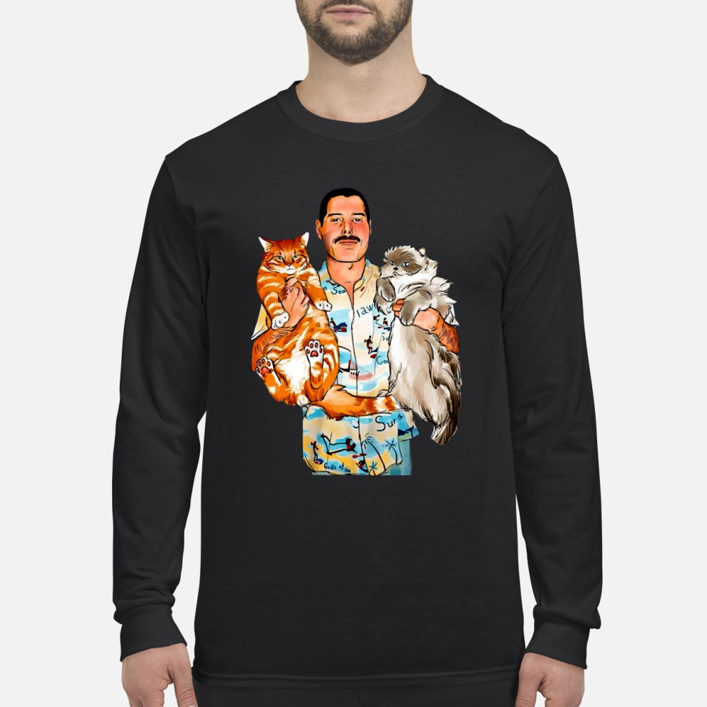 Freddie Mercury With His Cats Shirt Long sleeved