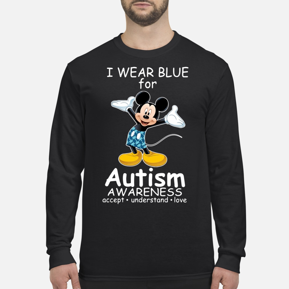 Mickey Mouse I wear blue for autism love kid shirt Long sleeved
