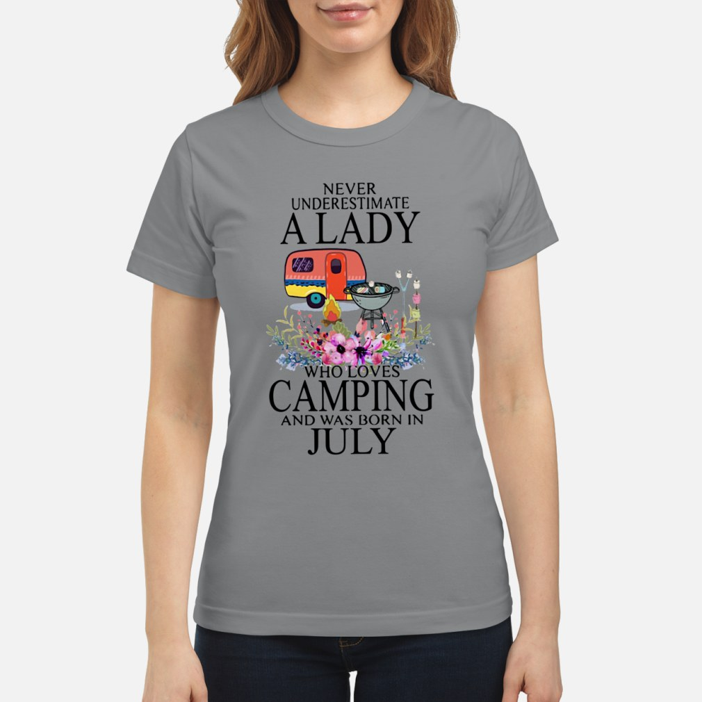 Never Underestimate A Lady Who Loves July ladies shirt ladies tee