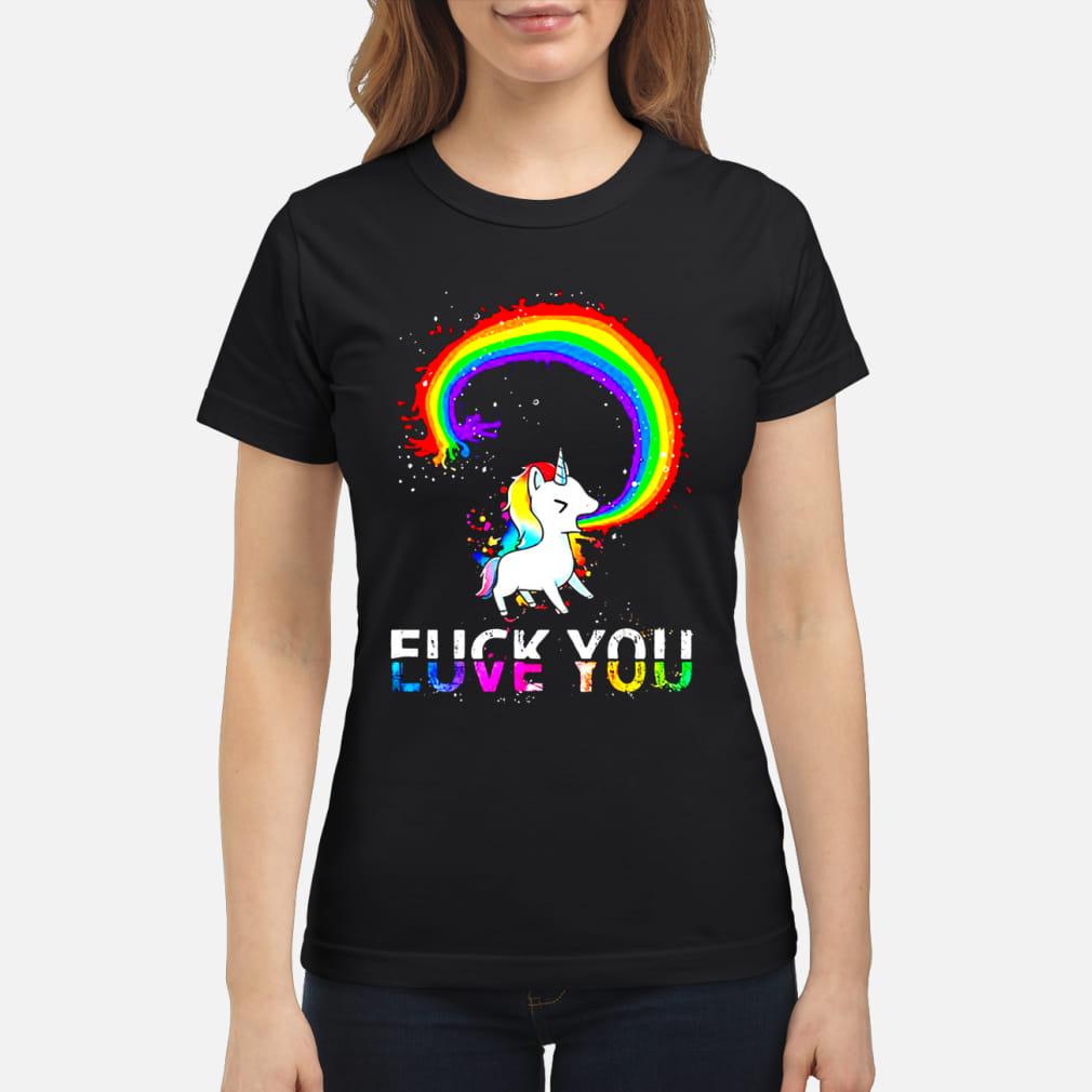 Unicorn rainbow fuck you love you sweater ladies tee