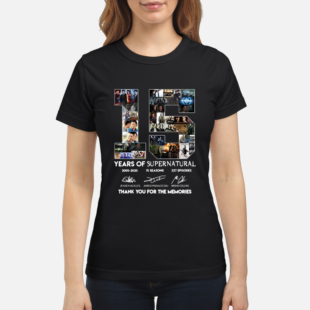 15 years of supernatural thenks you for the memories shirt ladies tee