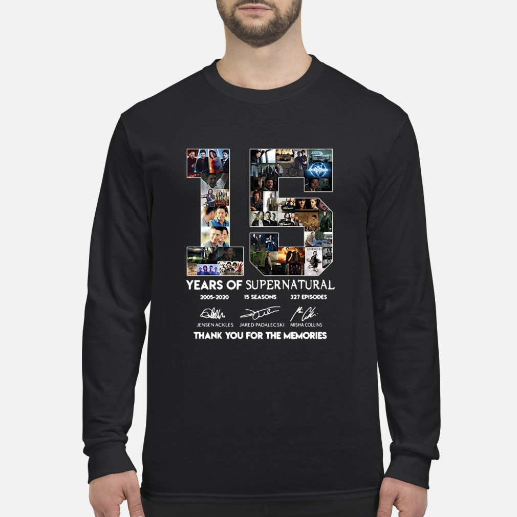 15 years of supernatural thenks you for the memories shirt long sleeved
