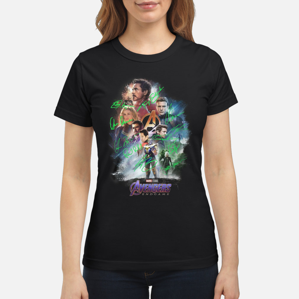 Avenger endgame poster gnature shirt ladies tee