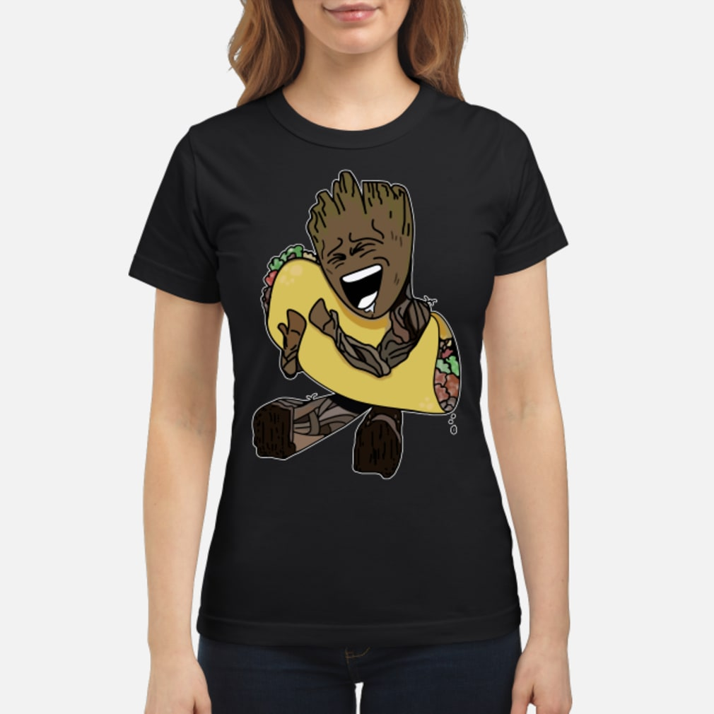 Baby Groot hugging Tacos shirt ladies tee