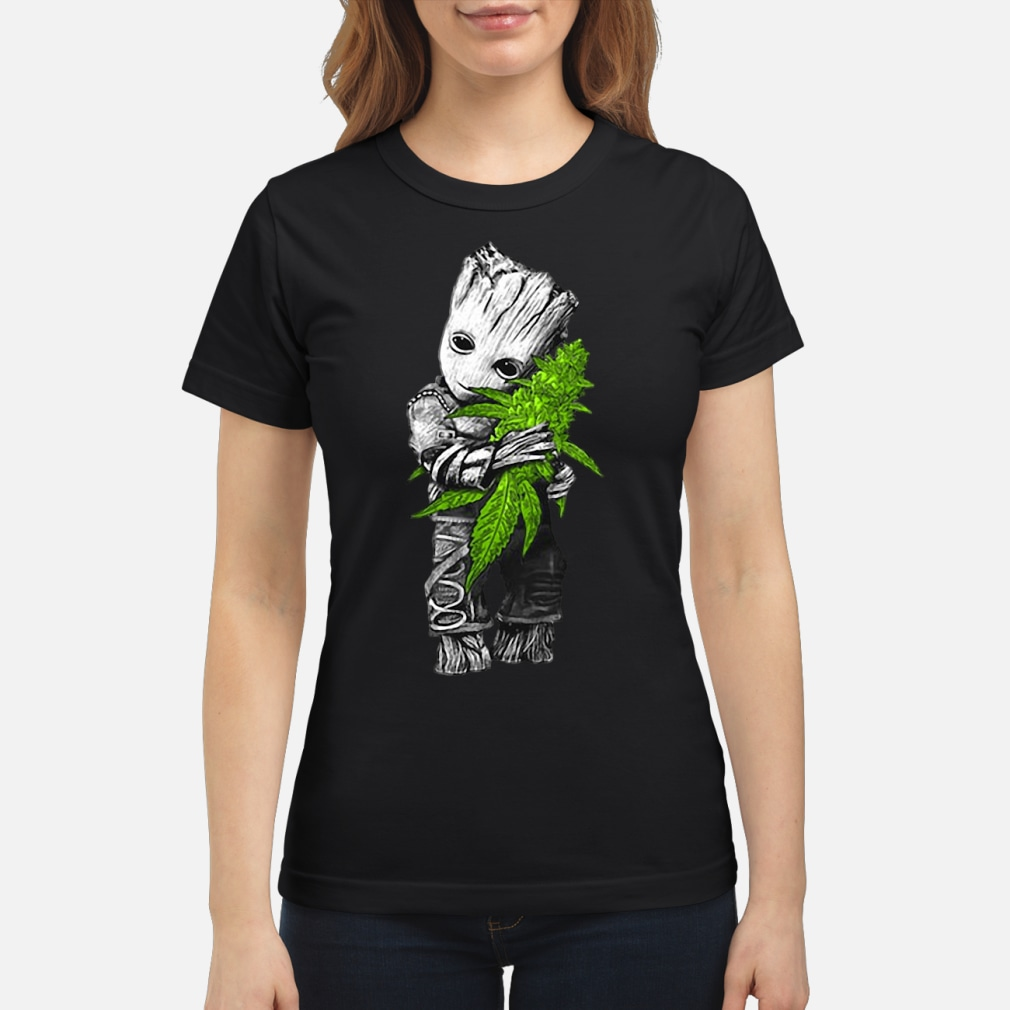 Baby Groot hugging weed shirt ladies tee