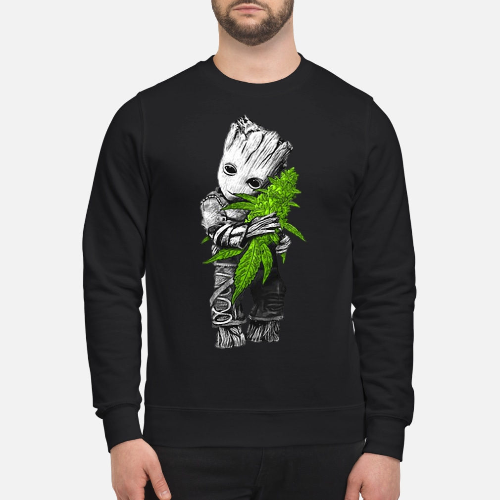 Baby Groot hugging weed shirt sweater