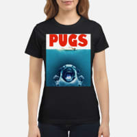 Dog pugs shark's jaw shirt ladies tee