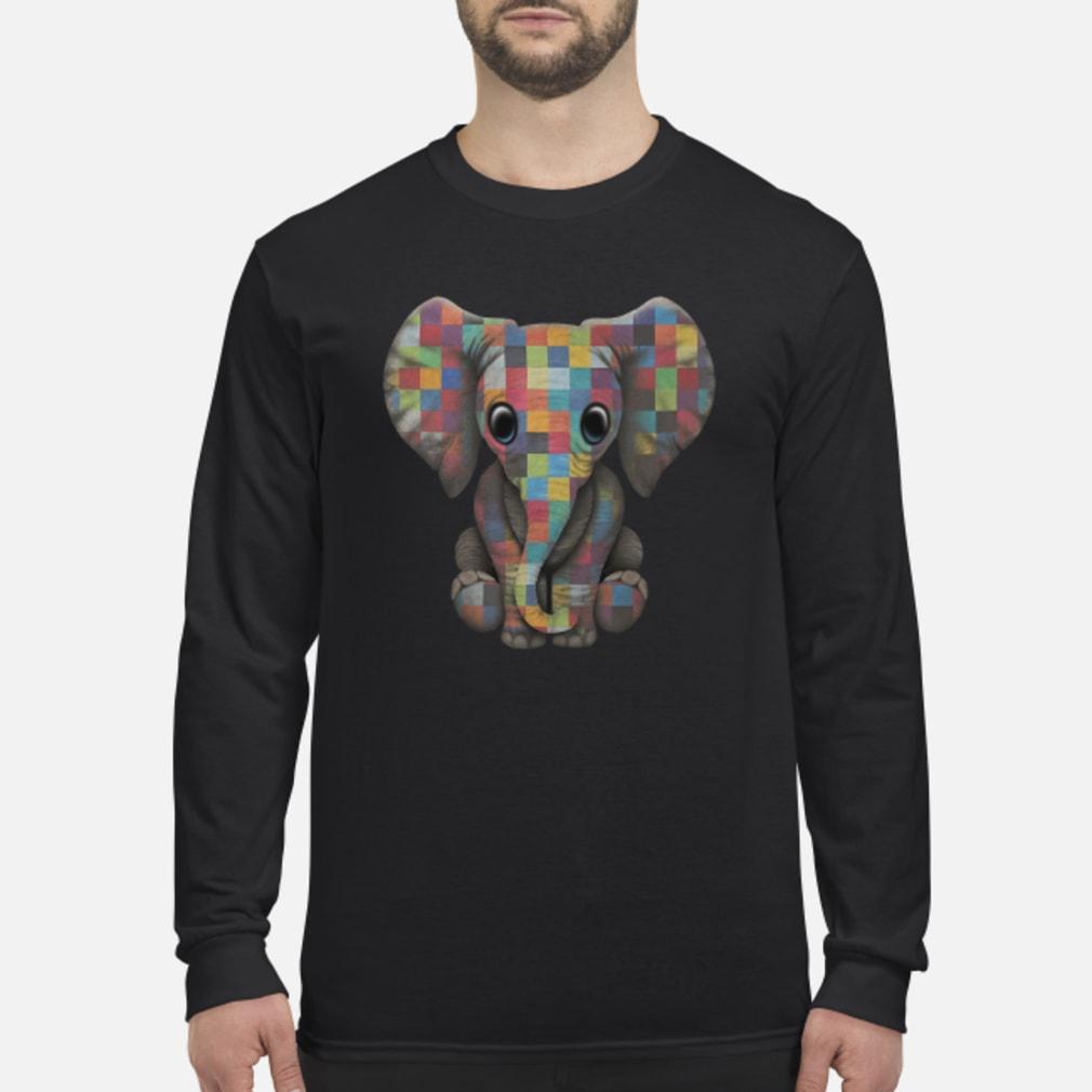 Elephant autism awareness ladies shirt long sleeved