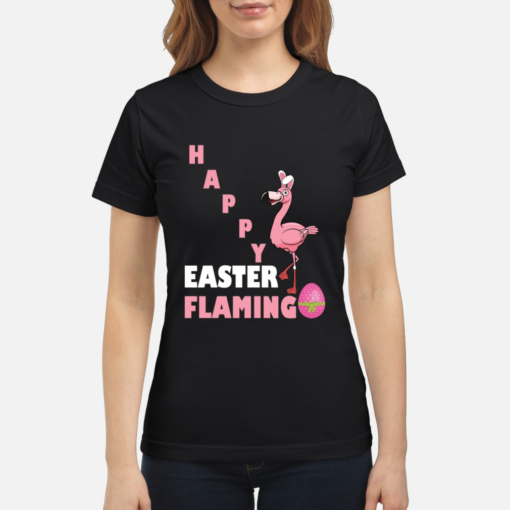 Happy Easter Flamingo egg shirt ladies tee