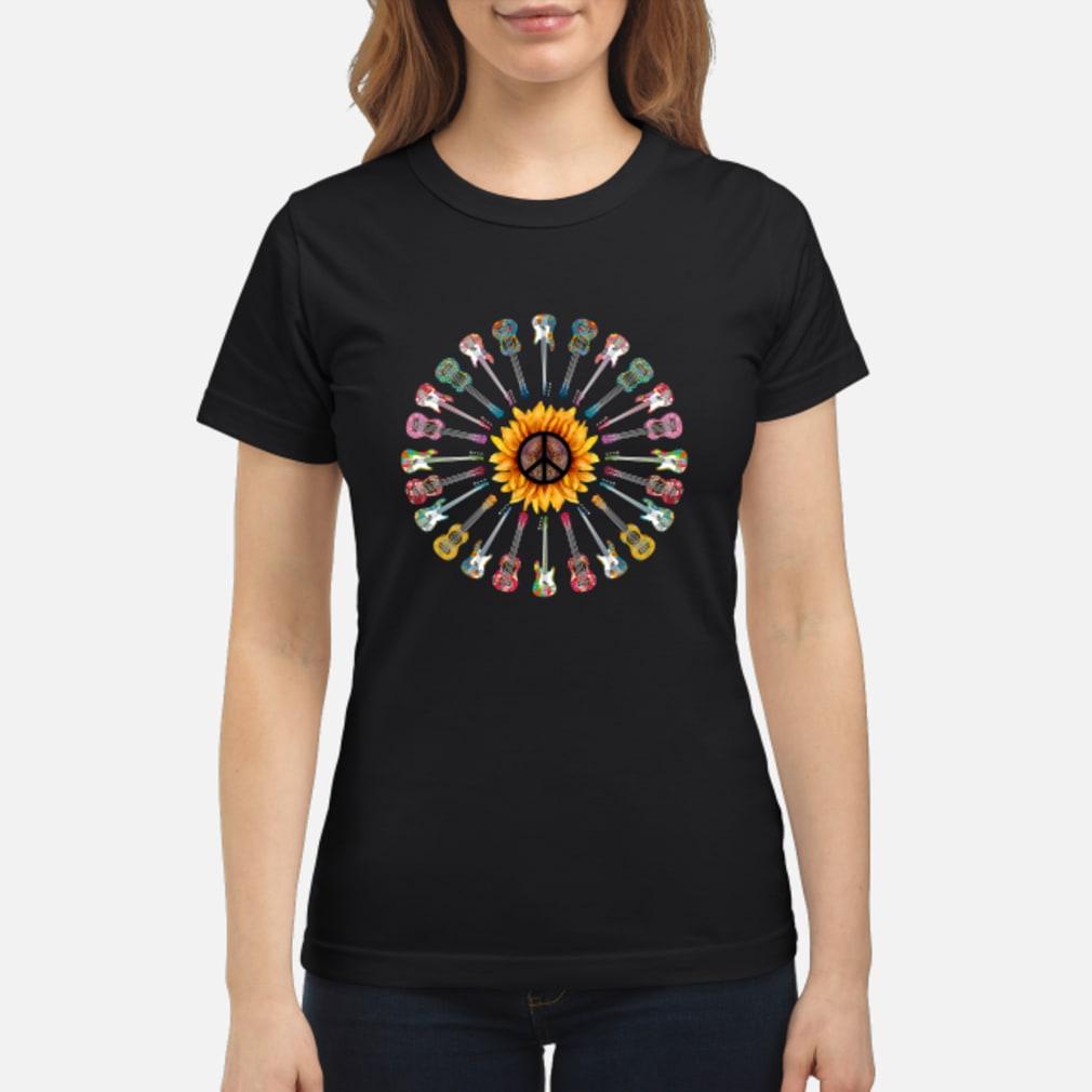 Hippie guitar sunflower shirt ladies tee