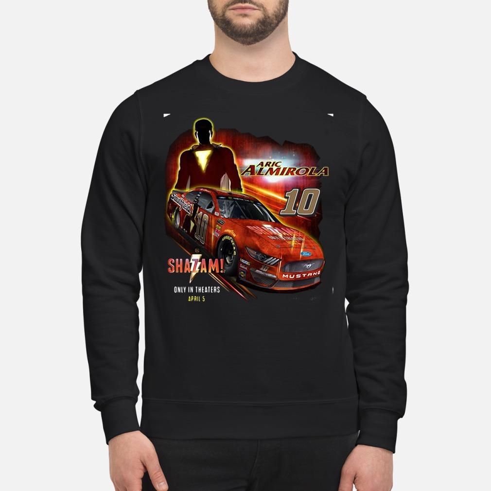 Men's aric Almirola Stewart-Haas racin Team Collection Black Shazam Shirt sweater