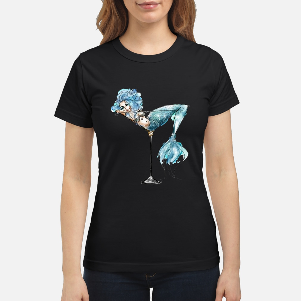 Mermaid and cocktail glass shirt ladies tee