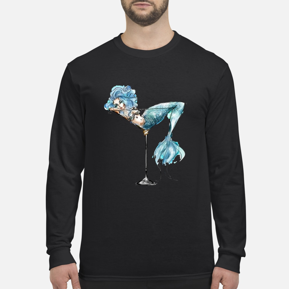 Mermaid and cocktail glass shirt Long sleeved