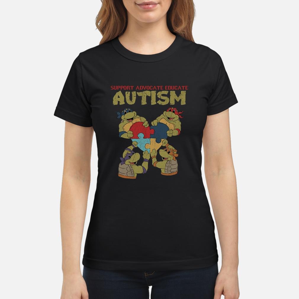 Ninja turtle support advocate educate autism shirt ladies tee