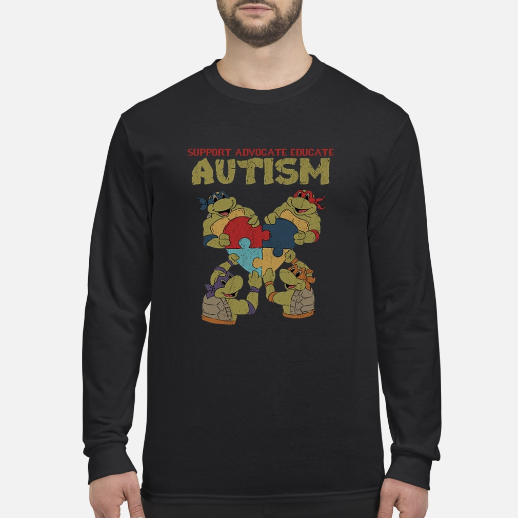 Ninja turtle support advocate educate autism shirt Long sleeved