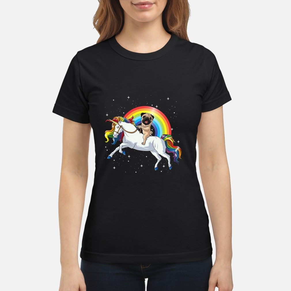 Pitbull Riding Unicorn Rainbow shirt ladies tee