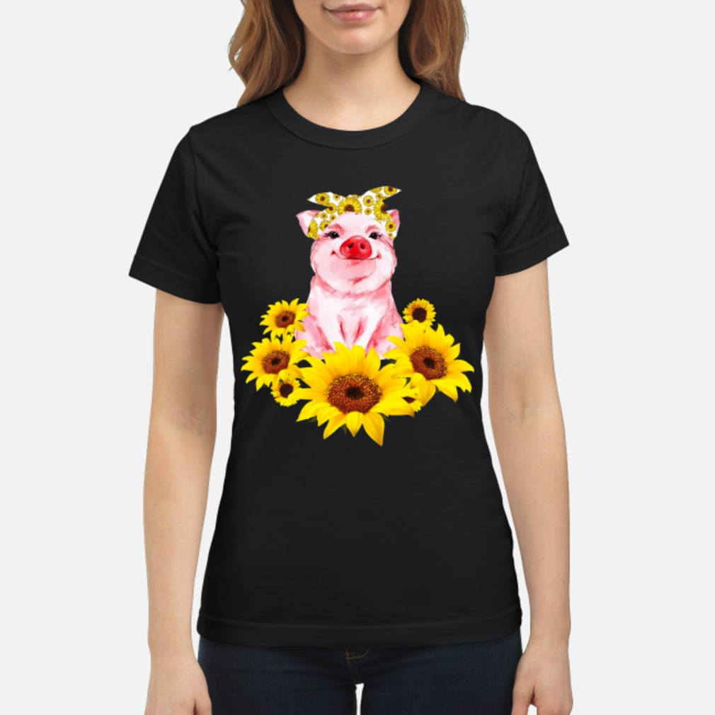 Pretty Pig with Sunflower Shirt ladies tee