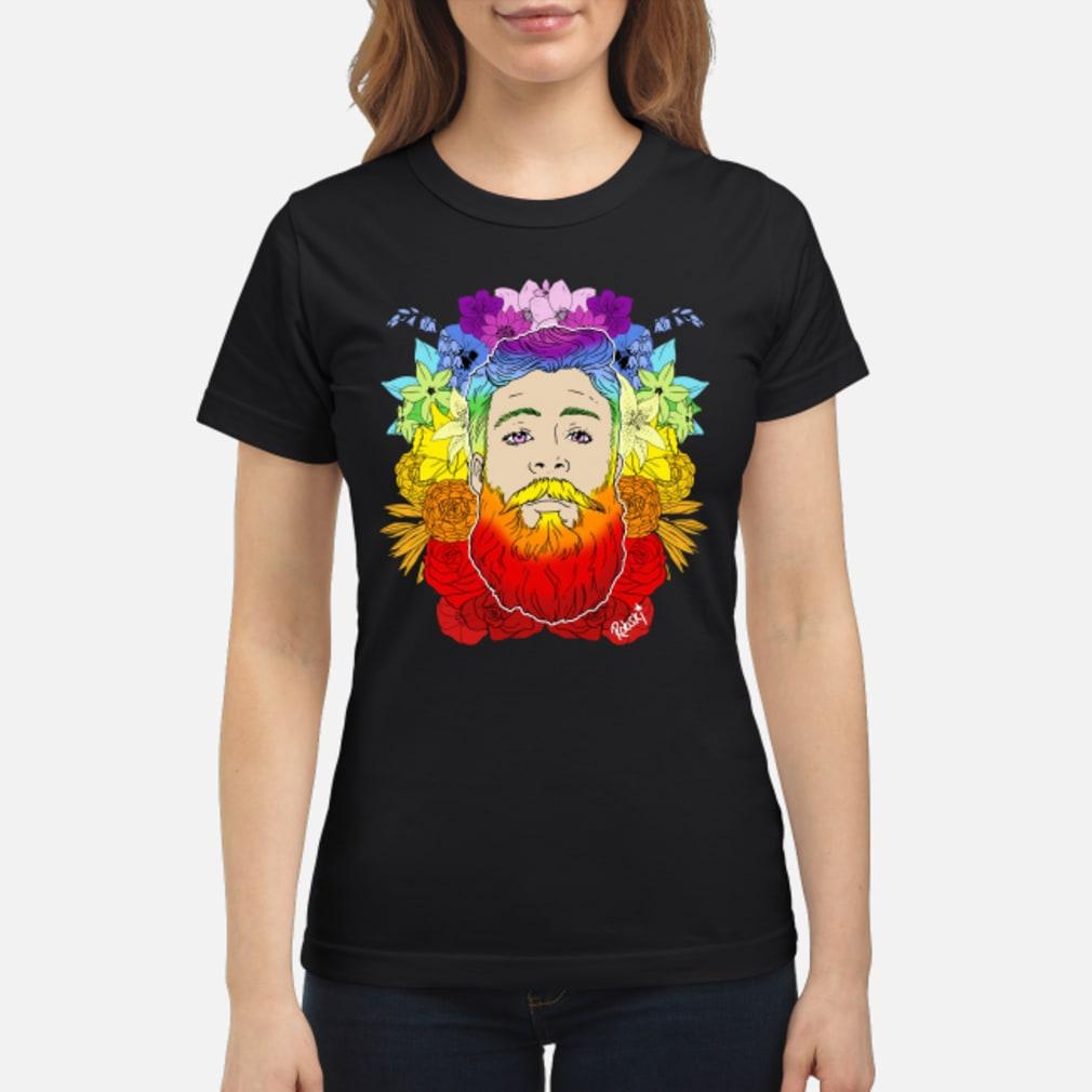 Rainbow beard floral pride shirt ladies tee