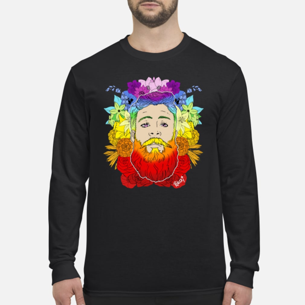 Rainbow beard floral pride shirt Long sleeved