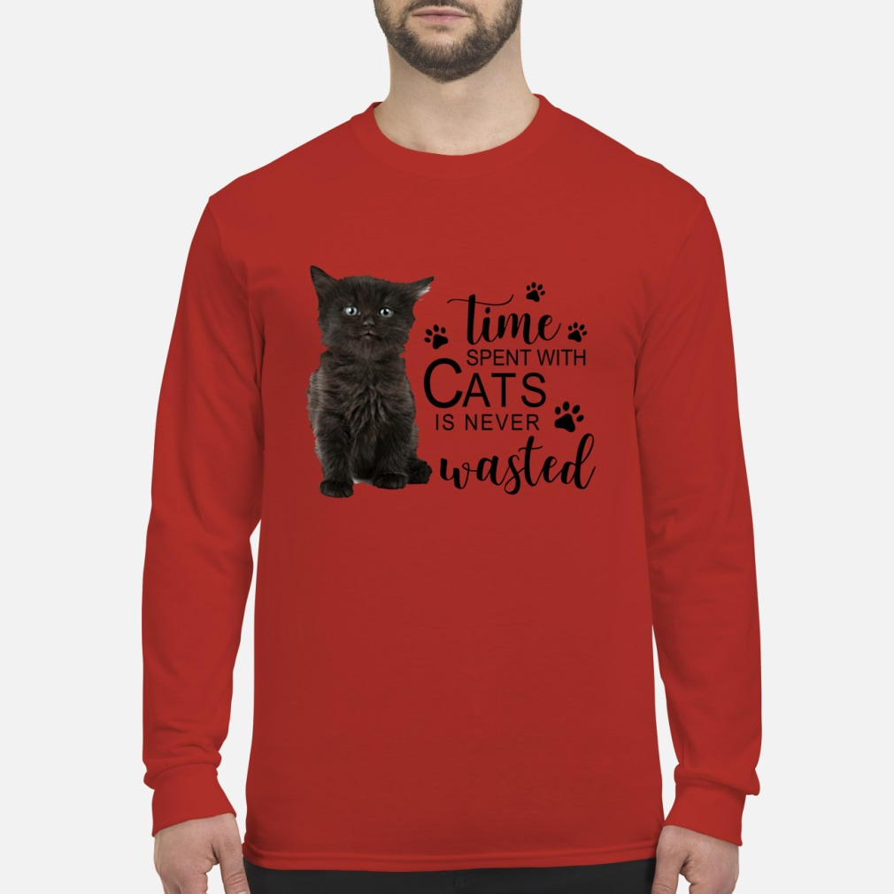 Time spent with cats is never wasted ladies shirt Long sleeved