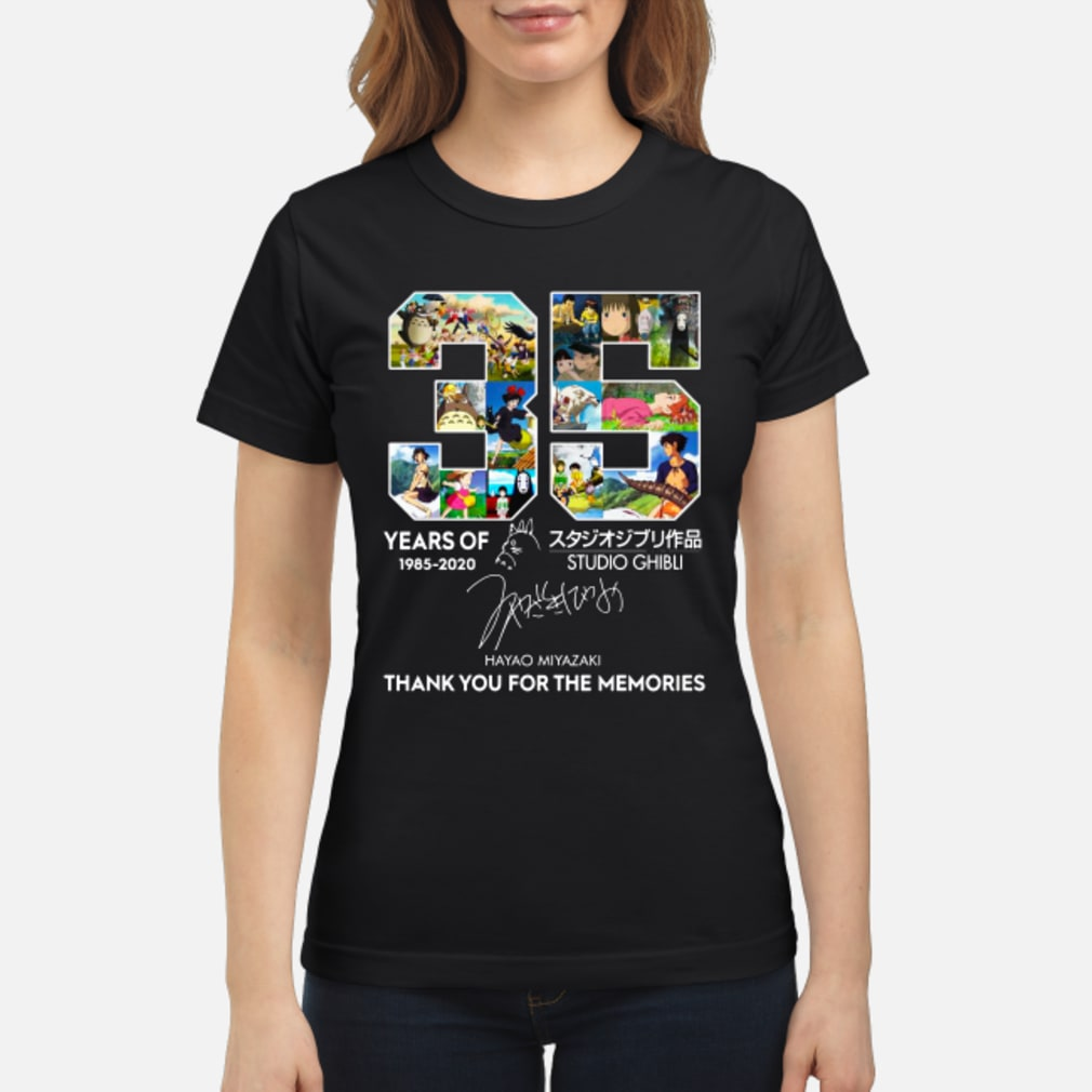 35 year of Studio Ghibli 1985-2020 Hayao Miyazaki Thank you for the memories shirt ladies tee