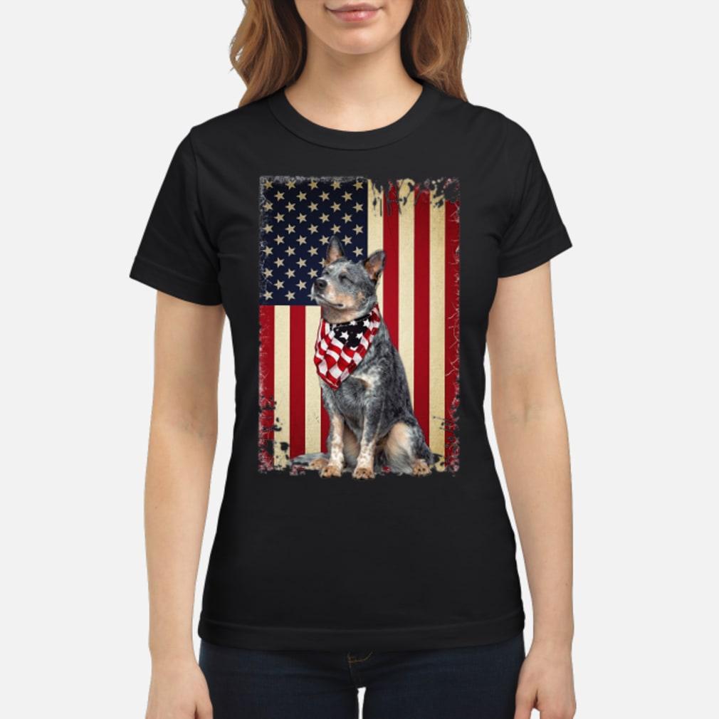 America flag dog shirt ladies tee