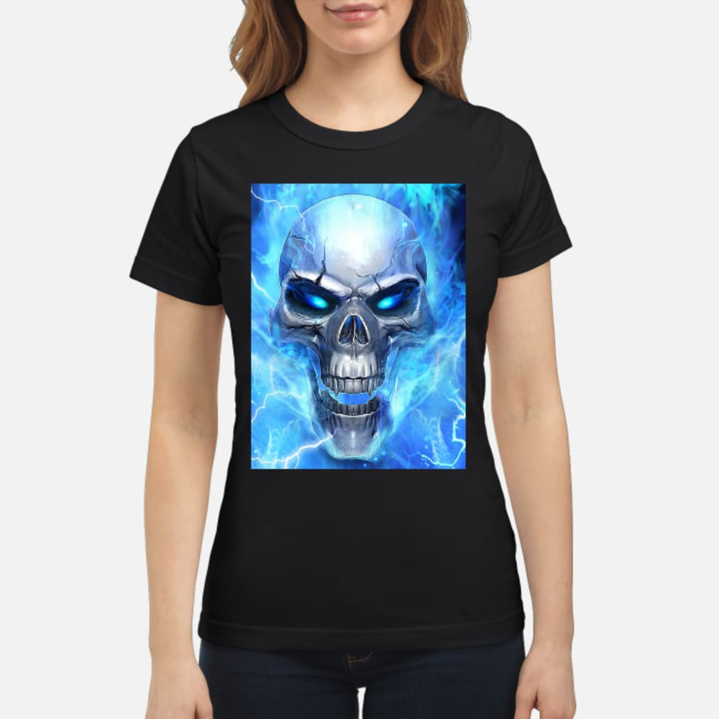 Official Blue Flame Skull Shirt Hoodie Tank Top And Sweater