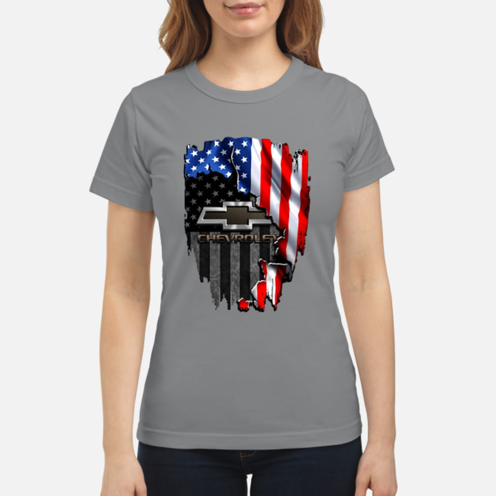 Chevrolet in the American flag shirt ladies tee
