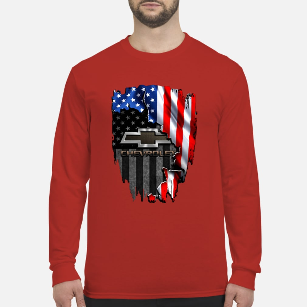 Chevrolet in the American flag shirt long sleeved