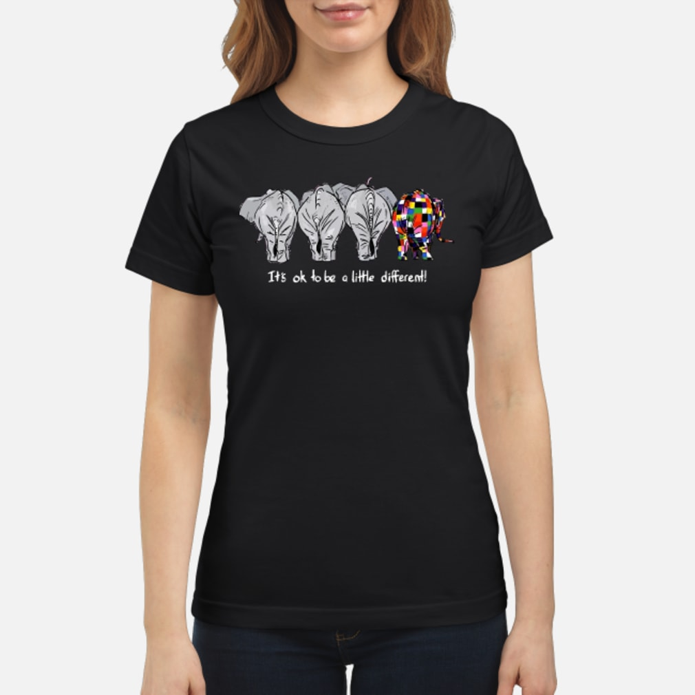 Elephant it's ok to be a little different shirt ladies tee