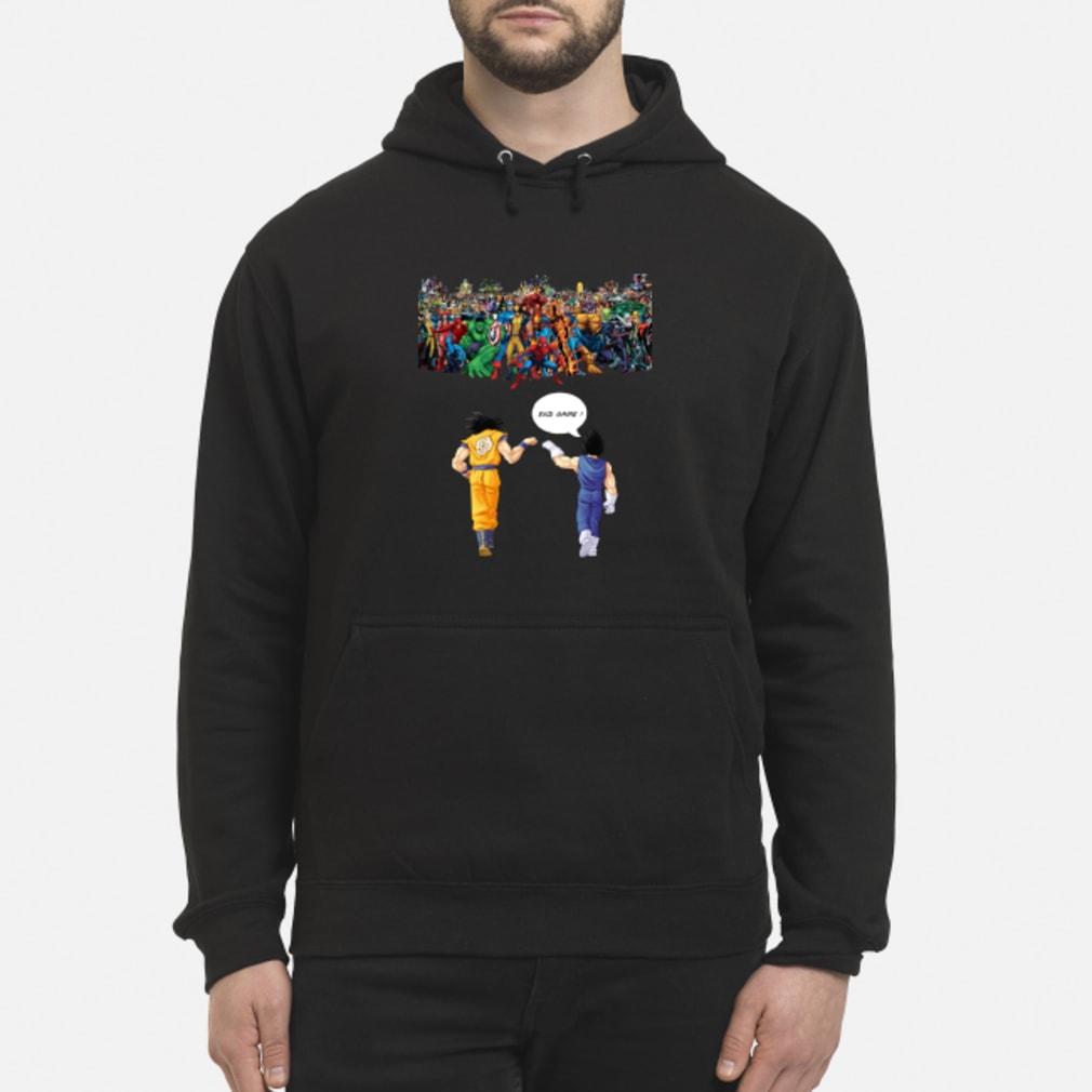 Endgame Goku and Vegeta vs Marvel shirt hoodie