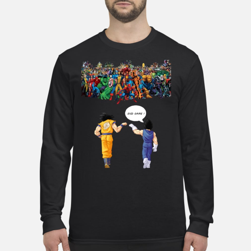 Endgame Goku and Vegeta vs Marvel shirt Long sleeved