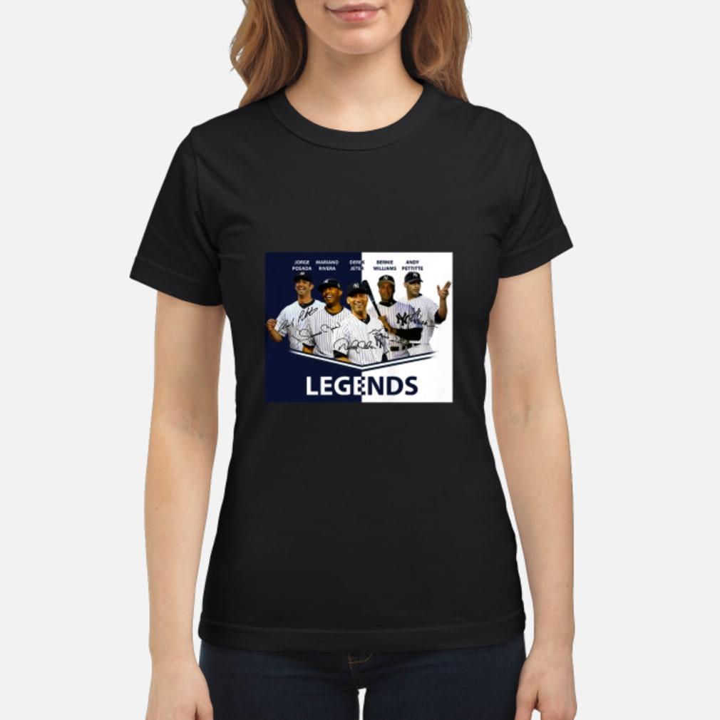 Jorge Posada Mariano Rivera Derek Jeter Bernie Williams Andy Pettitte Legends shirt ladies tee