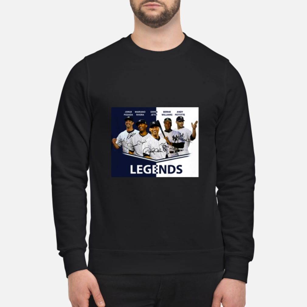 Jorge Posada Mariano Rivera Derek Jeter Bernie Williams Andy Pettitte Legends shirt sweater