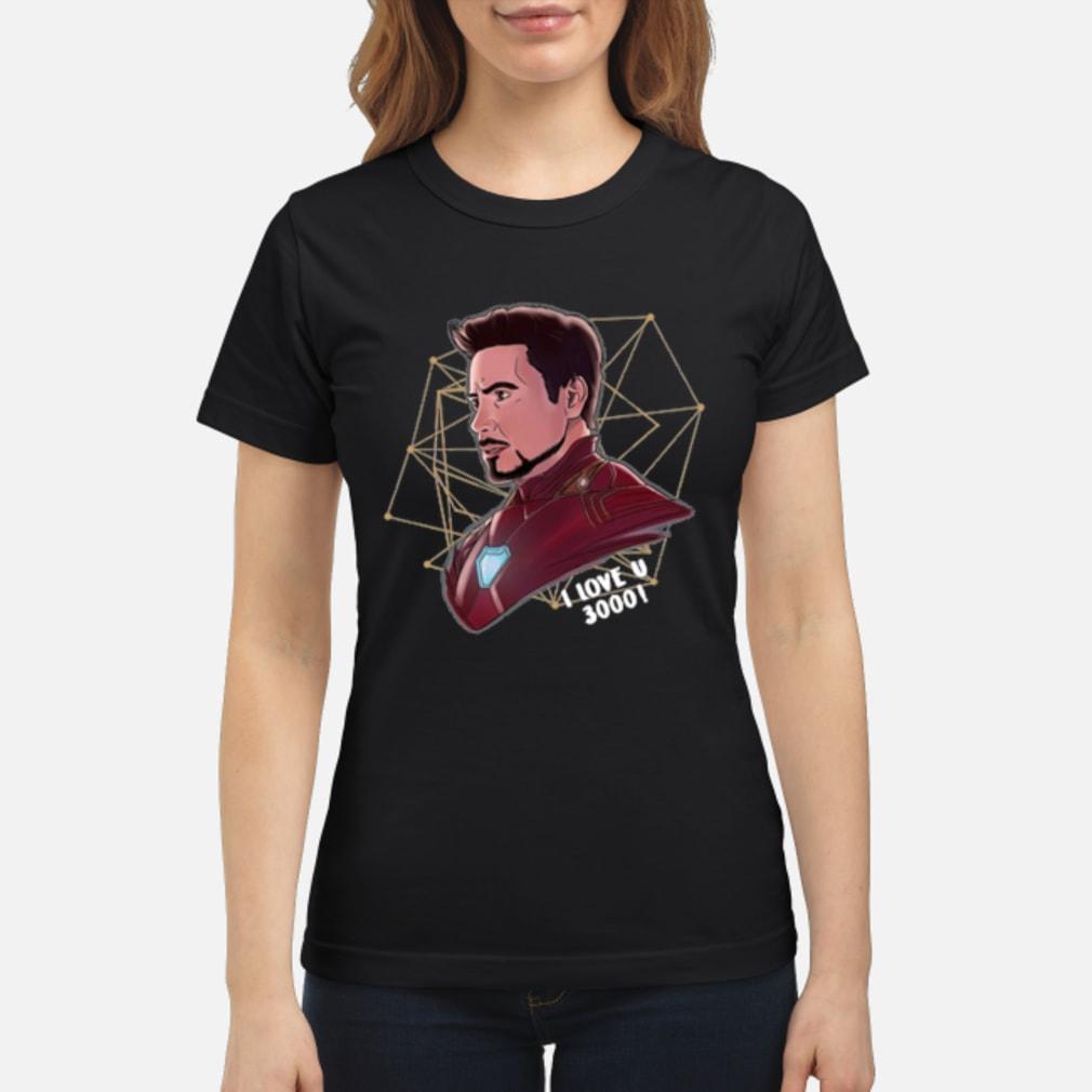 Top Iron Man Tony Stark I love U 3000 daughter shirt ladies tee