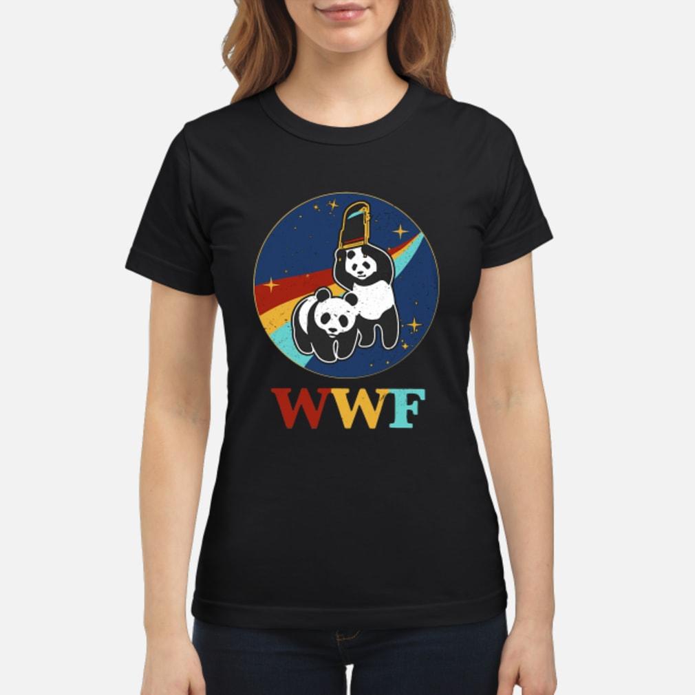 WWF panda bear Wrestling NASA shirt ladies tee