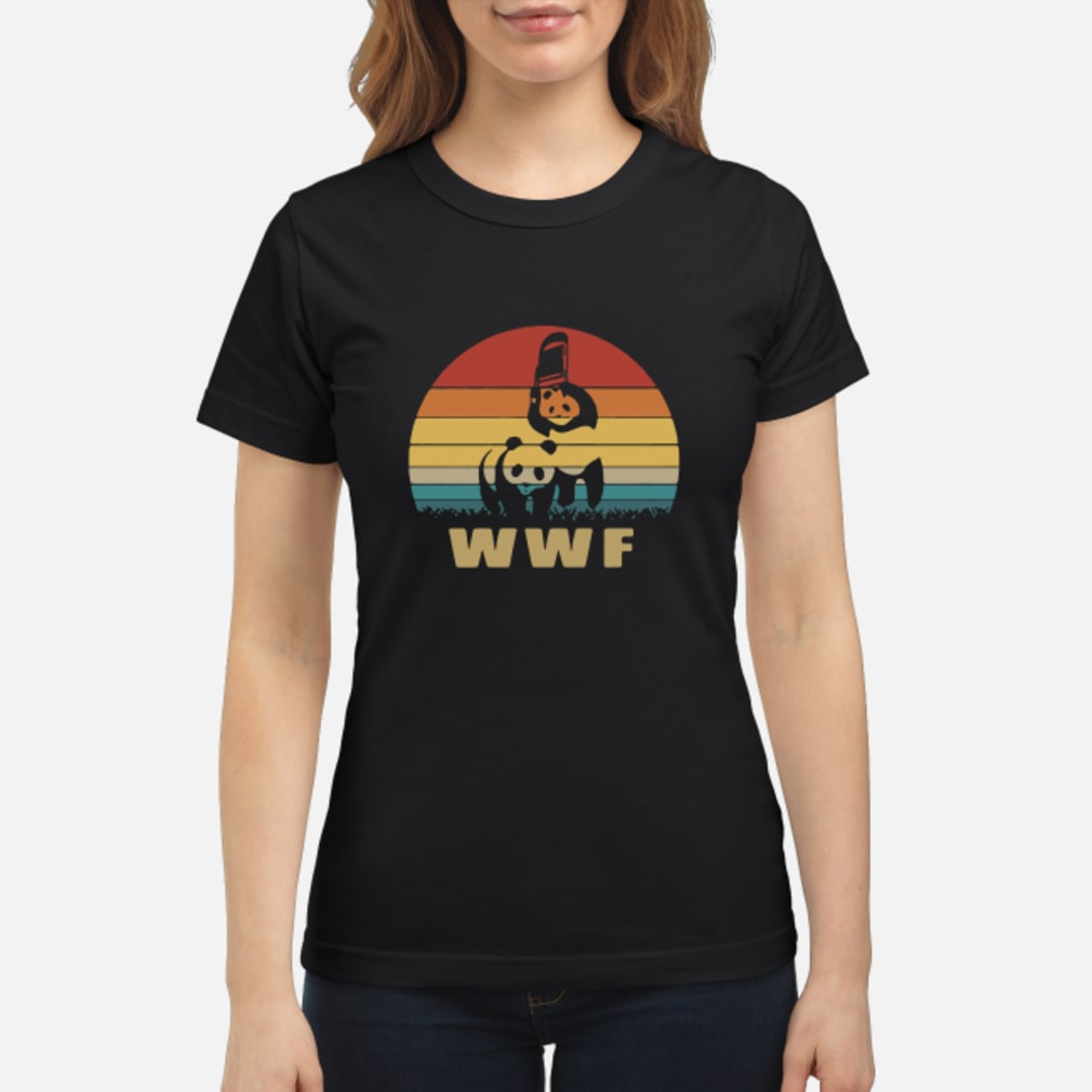 WWF wrestling panda vintage shirt ladies tee