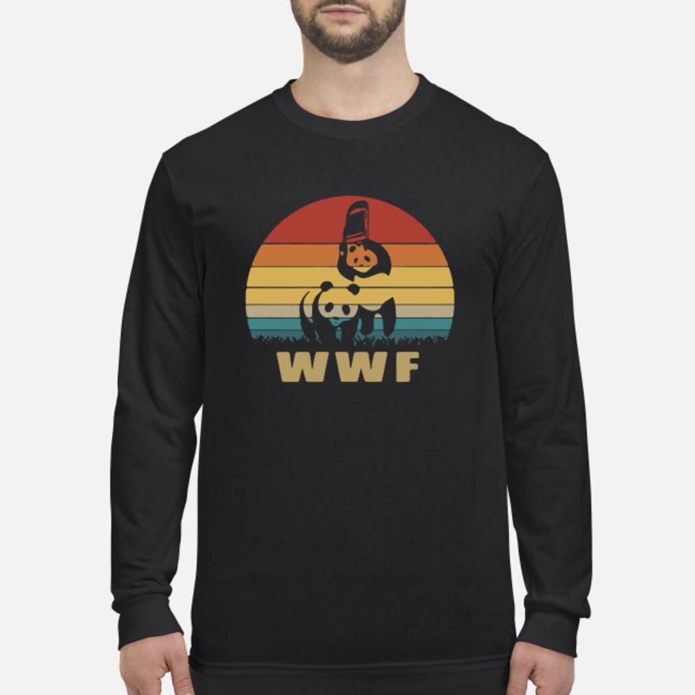 WWF wrestling panda vintage shirt Long sleeved