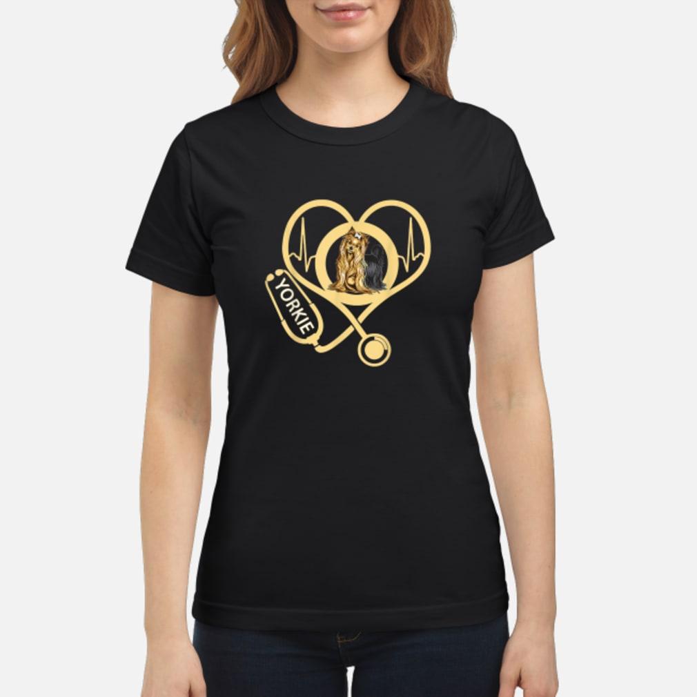 Yorkie Heartbeat Shirt For Nurses Nursing Shirt ladies tee