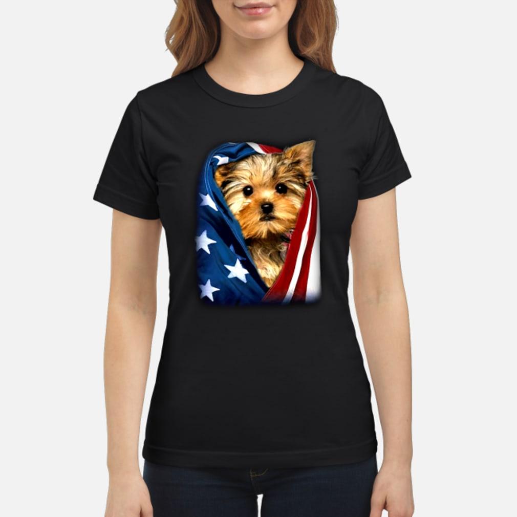 Yorkshire Dog american flag shirt ladies tee